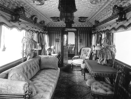 Inside Queen Victoria's drawing room on the Royal Train, 9 April 1935.