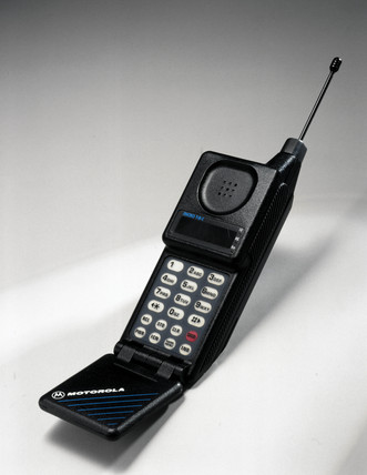Motorola MicroTAC cellular telephone.