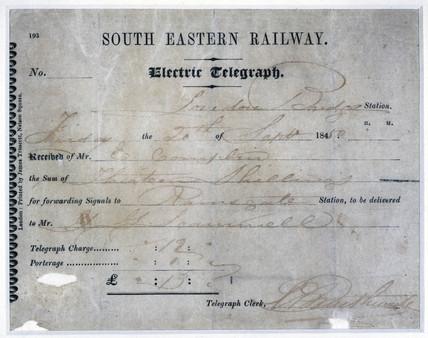 Tonbridge telegram receipt, 1850.
