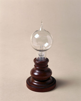 Very early Edison carbon filament lamp, 1879.