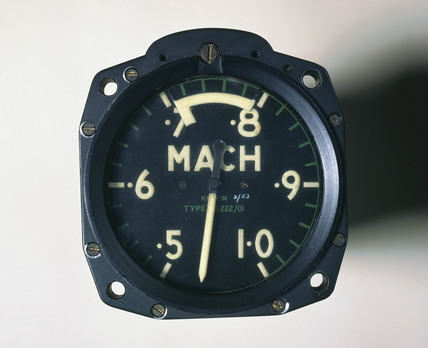 Mach meter dial, Type K B 222/01, c 1950s.