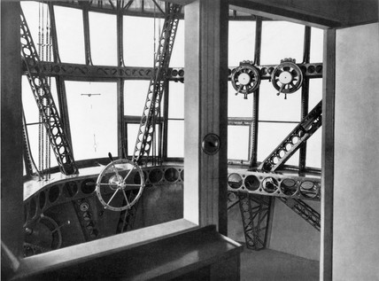 A view of the cockpit of the Zeppelin airship LZ 126, 1924.