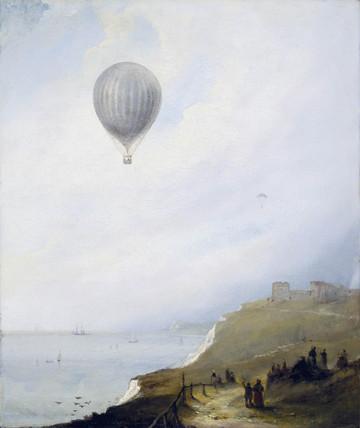 'Balloon Over Cliffs', Dover, Kent, 1840.