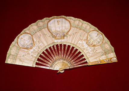 Fan celebrating three early ballooning achievements, France, 1784.