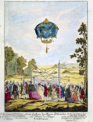 Ascent of the first succesful hot-air balloon, 21 November 1783.