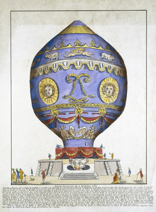 Plate showing first manned free-flight in a balloon, November 1783 (Science Museum / Science & Society)