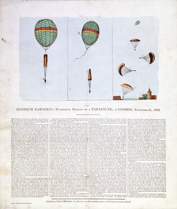 'Monsieur Garnerin's Wonderful Descent by a Parachute', London, 1802.
