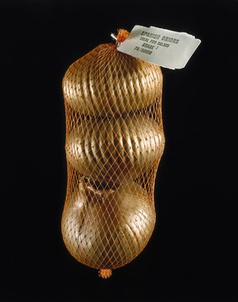 Netlon bag containing imitation onions, 1988.