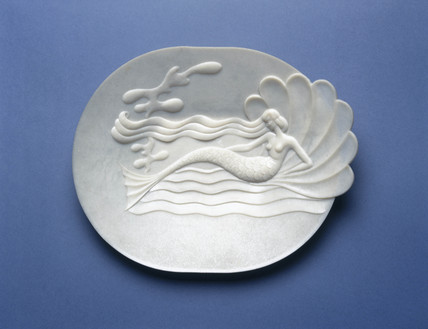 Oval moulded plastic serving dish, 1950s.