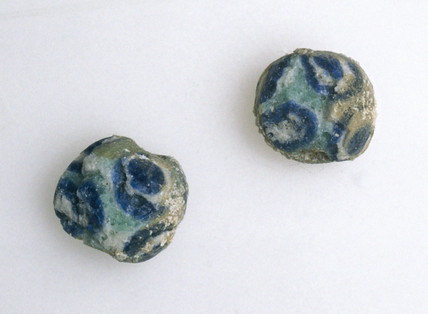 Two small eye-beads, Egyptian, c 100-300 AD.