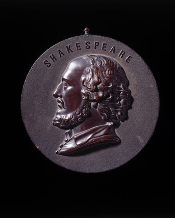 Shakespeare's portrait on a Bois Durci circular plaque, c 1860.
