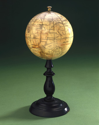 Mars globe on a black wooden stand, 1892.