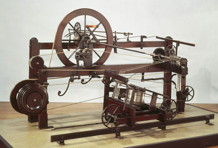 Crompton's spinning mule frame, 1770s.