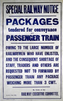 'Special Railway Notice', poster, 1915.