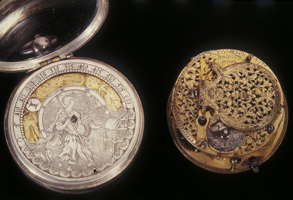 Two pocket watches, c 1705 and c 1660.