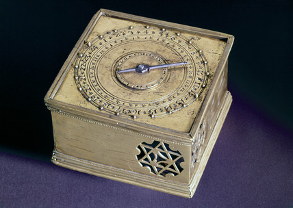 Square table alarm clock, German, c 1550.