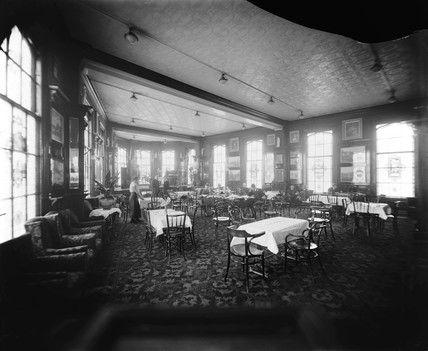Dining room, possibly inside a London & North Western Railway hotel, c 1910.