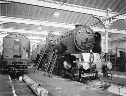 Painters at Doncaster works, South Yorkshire, 1947.