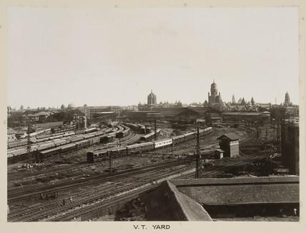 Railway sidings, Victoria Terminus, Bombay, India, c 1930.