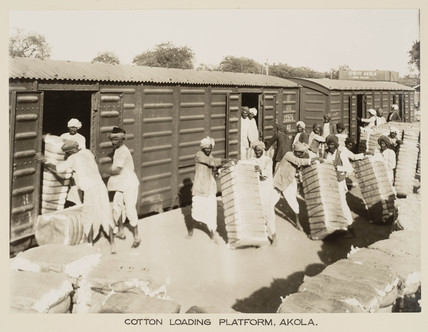 Cotton traffic, Akola Station, Maharashtra, India, c 1930.