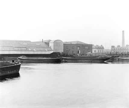 Warehouses at Poplar Dock, London, c 1898.