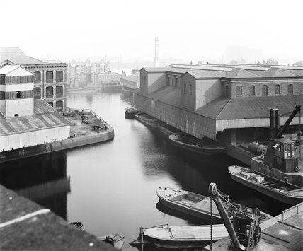 Warehouses at Poplar Dock, London, c 1898.