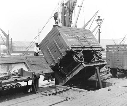 Wagon being tipped at Poplar Dock, London, 22 June 1898.