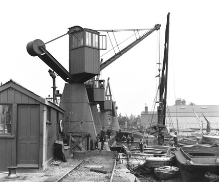 Crane at Poplar Dock, London, c 1900.
