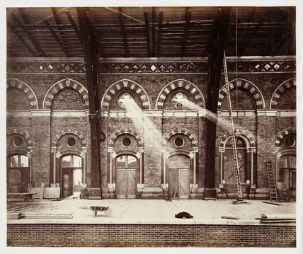 Departure platform at St Pancras Station, London, 1868.