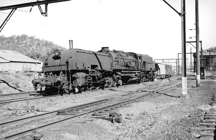 Garratt locomotive and freight train, New South Wales, Australia, 1970.