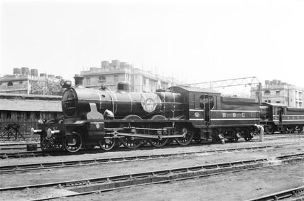 Steam locomotive at Lower Parel, India, 1940.