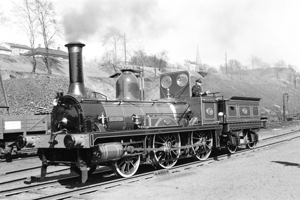 Steam locomotive at Oslo, Norway, 1954.