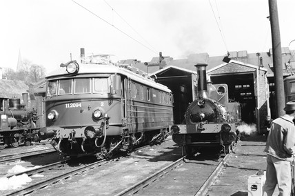 Electric and steam locomotives at Oslo, Norway, 1954.