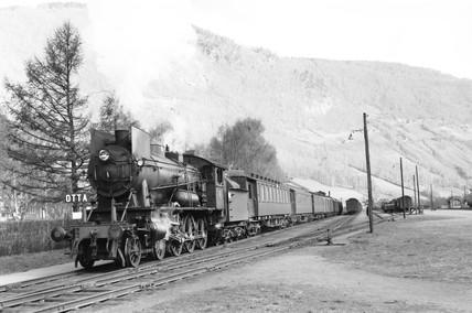 Steam locomotive, Otta, Norway, 1954.
