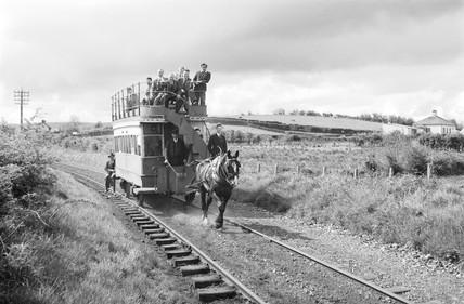Horse-drawn tram, Fintona, County Tyrone, Ireland, 1950.