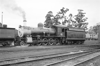 A class 8D locomotive at Mason's Mill, South Africa, 1968.