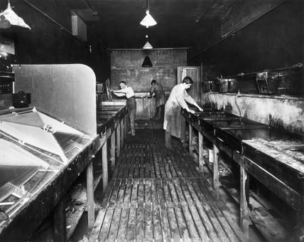 Printing room at Kinemacolor House, Wardour Street, Soho, London, c 1910s.