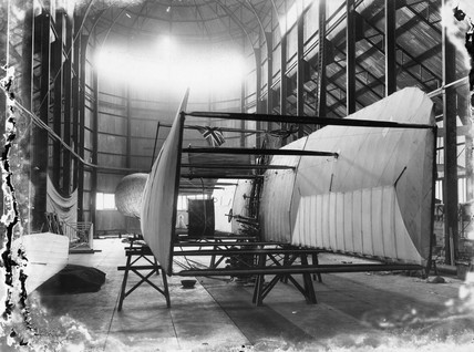 Cody aeroplane No1, wing section upended on trestles, 1908.