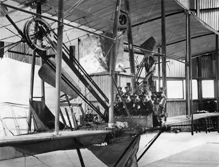 Cody aeroplane No1, Antoinette engine being fitted September 1908.