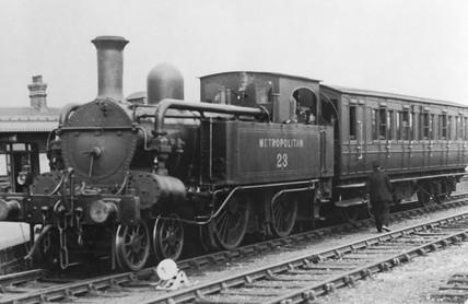 Metropolitan Railway locomotive No 23 with train, c 1930.
