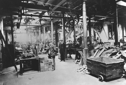 Interior of blockmill at H M Dockyard, Portsmouth, c 1900.