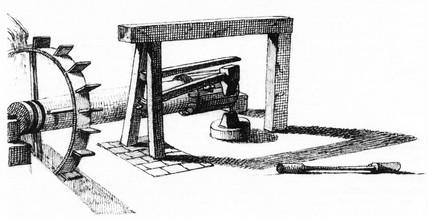 Breast-shot wheel and hammer, Caerleon, 1753-1755.