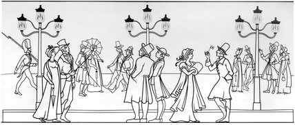 Gas lighting in Pall Mall, London, 1807.