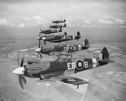 Spitfires in flight, c 1940s.