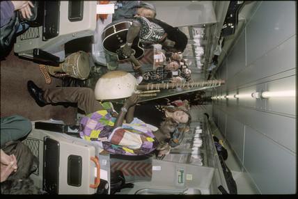Reggae band on a train, 2000.