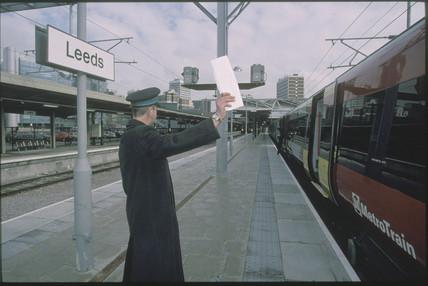 Guard at Leeds Station, 2001.
