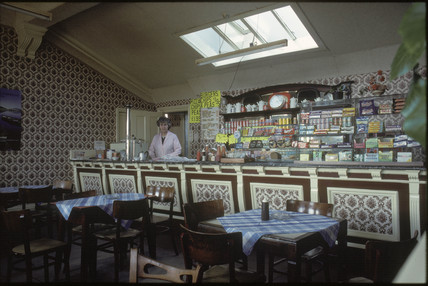 Cafe at Malton Station, 1981.