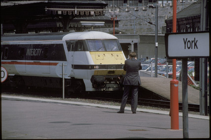 Inter-City train at York Station, 1993.