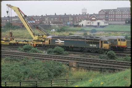 Derailed train in York, 1987.