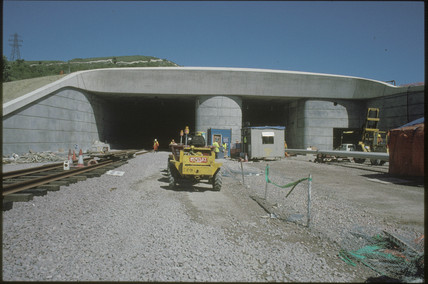 Entrance to the Channel tunnel, 1991.